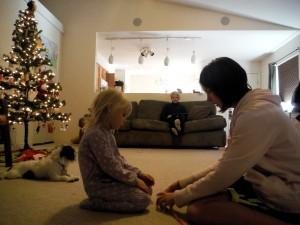 me teaching Tabitha how to do an eight knot